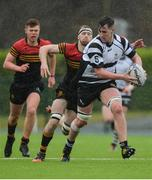 3 February 2017; Neal Moylett of Cistercian College Roscrea is tackled by Robert Ivers of CBC Monkstown during the Bank of Ireland Leinster Schools Senior Cup Round 1 match between Cistercian College Roscrea and CBC Monkstown at Castle Avenue in Clontarf, Dublin. Photo by Piaras Ó Mídheach/Sportsfile