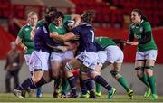 3 February 2017; Lindsay Peat of Ireland is tackled by Louise McMillan of Scotland during the RBS Women's Six Nations Rugby Championship match between Scotland and Ireland at Broadwood Stadium in Cumbernauld, Scotland. Photo by Brendan Moran/Sportsfile