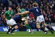 4 February 2017; Jamie Heaslip of Ireland is tackled by Zander Fagerson, left, and Richie Gray of Scotland during the RBS Six Nations Rugby Championship match between Scotland and Ireland at BT Murrayfield Stadium in Edinburgh, Scotland. Photo by Ramsey Cardy/Sportsfile