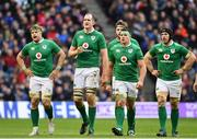 4 February 2017; Ireland players, from left, Jamie Heaslip, Devin Toner, Iain Henderson, CJ Stander and Sean O'Brien during the RBS Six Nations Rugby Championship match between Scotland and Ireland at BT Murrayfield Stadium in Edinburgh, Scotland. Photo by Ramsey Cardy/Sportsfile