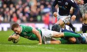 4 February 2017; Paddy Jackson of Ireland scores his side's third try during the RBS Six Nations Rugby Championship match between Scotland and Ireland at BT Murrayfield Stadium in Edinburgh, Scotland. Photo by Brendan Moran/Sportsfile