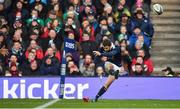 4 February 2017; Greig Laidlaw of Scotland kicks a penalty at full time to leave the final score 27-22 to Scotland during the RBS Six Nations Rugby Championship match between Scotland and Ireland at BT Murrayfield Stadium in Edinburgh, Scotland. Photo by Brendan Moran/Sportsfile
