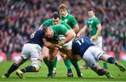 4 February 2017; Tadhg Furlong of Ireland is tackled by Josh Strauss, left, and Gordon Reid of Scotland during the RBS Six Nations Rugby Championship match between Scotland and Ireland at BT Murrayfield Stadium in Edinburgh, Scotland. Photo by Brendan Moran/Sportsfile