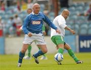 2 July 2011; John McDonnell, League of Ireland Managers Selection, in action against Paul McGrath, Republic of Ireland XI. Italia 90 World Cup Reunion Match, Republic of Ireland XI v League of Ireland Managers Selection, Hunky Dory Park, Drogheda, Co. Louth. Picture credit: Paul Mohan / SPORTSFILE