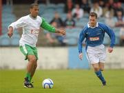 2 July 2011; Phil Babb, Republic of Ireland XI, in action against Aidan Lynch, League of Ireland Managers Selection. Italia 90 World Cup Reunion Match, Republic of Ireland XI v League of Ireland Managers Selection, Hunky Dory Park, Drogheda, Co. Louth. Picture credit: Paul Mohan / SPORTSFILE