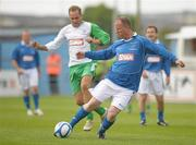 2 July 2011; Joe O'Connor, League of Ireland Managers Selection, in action against Jason McAteer, Republic of Ireland XI. Italia 90 World Cup Reunion Match, Republic of Ireland XI v League of Ireland Managers Selection, Hunky Dory Park, Drogheda, Co. Louth. Picture credit: Paul Mohan / SPORTSFILE