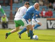 2 July 2011; John McDonnell, League of Ireland Managers Selection, in action against Gavin Whelan, Republic of Ireland XI. Italia 90 World Cup Reunion Match, Republic of Ireland XI v League of Ireland Managers Selection, Hunky Dory Park, Drogheda, Co. Louth. Picture credit: Paul Mohan / SPORTSFILE