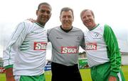 2 July 2011; Phil Babb, left, Packie Bonner, and Ronnie Whelan, right, Republic of Ireland XI. Italia 90 World Cup Reunion Match, Republic of Ireland XI v League of Ireland Managers Selection, Hunky Dory Park, Drogheda, Co. Louth. Picture credit: Paul Mohan / SPORTSFILE