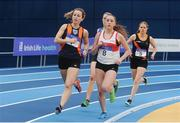 4 February 2017; Claire Earls of Slí Cualann AC, Co Wicklow, left, on her way to winning the women's 800m ahead of Nicole King of Galway City Harriers, Co Galway, who finished third, during the Irish Life Health National Indoor Club League Final at the Sport Ireland National Indoor Arena in Abbotstown, Dublin. Photo by Sam Barnes/Sportsfile