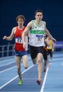 4 February 2017; Cillian Kirwan of Raheny Shamrock AC, Co Dublin, centre, on his way to winning the Men's 800m, ahead of Damien landers of Ennis Track AC, Co Clare, who finished second during the Irish Life Health National Indoor Club League Final at the Sport Ireland National Indoor Arena in Abbotstown, Dublin. Photo by Sam Barnes/Sportsfile