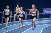 4 February 2017; Aoife Conroy of Slí Cualann, Co Wicklow, right, competing in the Women's 200m during the Irish Life Health National Indoor Club League Final at the Sport Ireland National Indoor Arena in Abbotstown, Dublin. Photo by Sam Barnes/Sportsfile