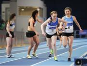4 February 2017; St L. O'Toole AC, Co Carlow on their way to winning the women's 4x200m relay during the Irish Life Health National Indoor Club League Final at the Sport Ireland National Indoor Arena in Abbotstown, Dublin. Photo by Sam Barnes/Sportsfile