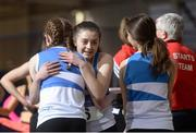 4 February 2017; Members of St L. O'Toole AC, Co Carlow, celebrate after winning the women's 4x200m relay during the Irish Life Health National Indoor Club League Final at the Sport Ireland National Indoor Arena in Abbotstown, Dublin. Photo by Sam Barnes/Sportsfile