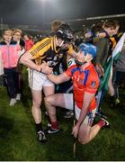 4 February 2017; Tony Kelly of Ballyea commiserates with Conor Cooney of St Thomas' after the AIB GAA Hurling All-Ireland Senior Club Championship Semi-Final match between St Thomas' and Ballyea at Semple Stadium in Thurles, Co Tipperary. Photo by Piaras Ó Mídheach/Sportsfile