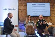 4 February 2017; Connacht Healthy Club Roadshow - inspiring GAA clubs to become hubs for health. Pictured at the launch leading the call out for increased participation in the programme are Mickey Harte, manager of the Tyrone senior inter-county team, with MC Eoin Conroy and Aoife O'Brien, National Healthy Club Coordinator. Exemplar Healthy Clubs such as Achill GAA, Mayo, Melvin Gaels GAA, Leitrim, Ballinderreen GAA, Galway and Aghamore GAA, Mayo, encouraged and inspired other Connacht clubs to support their communities in pursuit of better physical and mental wellbeing. For more information, visit: www.gaa.ie/community Follow: @officialgaa or Like: www.facebook.com/officialgaa/. Ballyhaunis Centre of Excellence, Mayo. Photo by Matt Browne/Sportsfile