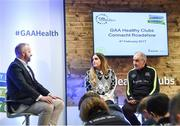4 February 2017; Connacht Healthy Club Roadshow - inspiring GAA clubs to become hubs for health. Pictured at the launch leading the call out for increased participation in the programme are MC Eoin Conroy with Aoife O'Brien, National Healthy Club Coordinator and Mickey Harte, manager of the Tyrone senior inter-county team. Exemplar Healthy Clubs such as Achill GAA, Mayo, Melvin Gaels GAA, Leitrim, Ballinderreen GAA, Galway and Aghamore GAA, Mayo, encouraged and inspired other Connacht clubs to support their communities in pursuit of better physical and mental wellbeing. For more information, visit: www.gaa.ie/community Follow: @officialgaa or Like: www.facebook.com/officialgaa/. Ballyhaunis Centre of Excellence, Mayo. Photo by Matt Browne/Sportsfile