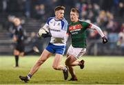 4 February 2017; Fintan Kelly of Monaghan in action against Cillian O'Connor of Mayo during the Allianz Football League Division 1 Round 1 match between Mayo and Monaghan at Elverys MacHale Park in Castlebar, Co Mayo. Photo by Stephen McCarthy/Sportsfile