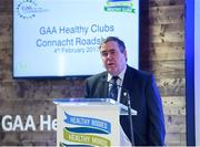 4 February 2017; Connacht Healthy Club Roadshow - inspiring GAA clubs to become hubs for health. Pictured at the launch leading the call out for increased participation in the programme was Mick Rock Provincial President of Connacht. Exemplar Healthy Clubs such as Achill GAA, Mayo, Melvin Gaels GAA, Leitrim, Ballinderreen GAA, Galway and Aghamore GAA, Mayo, encouraged and inspired other Connacht clubs to support their communities in pursuit of better physical and mental wellbeing. For more information, visit: www.gaa.ie/community Follow: @officialgaa or Like: www.facebook.com/officialgaa/. Ballyhaunis Centre of Excellence, Mayo. Photo by Matt Browne/Sportsfile