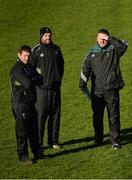 5 February 2017; Kildare manager Cian O'Neill, right, with his selectors Enda Murphy and Ronan Sweeney, centre, before the Allianz Football League Division 2 Round 1 match between Meath and Kildare at Páirc Táilteann in Navan, Co. Meath. Photo by Piaras Ó Mídheach/Sportsfile
