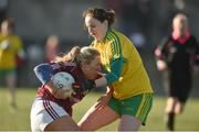 5 February 2017; Megan Glynn of Galway in action against Roisin Friel of Donegal during the Lidl Ladies Football National League Round 2 match between Galway and Donegal at Tuam Stadium in Galway. Photo by Diarmuid Greene/Sportsfile