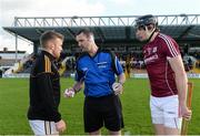 5 February 2017; Referee Patrick Murphy talks to captains Richie Hogan of Kilkenny, left, and Joseph Cooney of Galway prior to the Bord na Mona Walsh Cup Final match between Kilkenny and Galway at Nowlan Park in Kilkenny. Photo by Seb Daly/Sportsfile