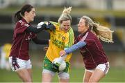 5 February 2017; Karen Gutherie of Donegal in action against Emer Flaherty, left, and Megan Glynn of Galway during the Lidl Ladies Football National League Round 2 match between Galway and Donegal at Tuam Stadium in Galway. Photo by Diarmuid Greene/Sportsfile