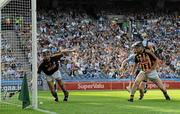 3 July 2011; David Herity, Kilkenny, stretches to stop the sliothar crossing the goal line as David O'Callaghan, Dublin, and Noel Hickey, Kilkenny, look on. Leinster GAA Hurling Senior Championship Final, Kilkenny v Dublin, Croke Park, Dublin. Picture credit: Brian Lawless / SPORTSFILE