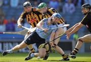 3 July 2011; Paul Ryan, Dublin, in action against Kilkenny players left to right, Noel Hickey, Paul Murphy and goalkeeper David Herity. Leinster GAA Hurling Senior Championship Final, Kilkenny v Dublin, Croke Park, Dublin. Picture credit: David Maher / SPORTSFILE
