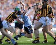 3 July 2011; Maurice O'Brien, Dublin, is tackled by Kilkenny players  from left, Paul Murphy, Noel Hickey, Jackie Tyrrell and Brian Hogan. Leinster GAA Hurling Senior Championship Final, Kilkenny v Dublin, Croke Park, Dublin. Picture credit: Matt Browne / SPORTSFILE