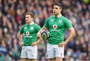 4 February 2017; Conor Murray, right, with half-back partner Paddy Jackson of Ireland, during the RBS Six Nations Rugby Championship match between Scotland and Ireland at BT Murrayfield Stadium in Edinburgh, Scotland. Photo by Brendan Moran/Sportsfile