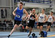 5 February 2017; Eanna Madden of Carrick-On- Shannon, Co Leitrim, leads the field whilst competing in the senior men's 400m during the Irish Life Health AAI Indoor Games at Sport Ireland National Indoor Arena in Abbotstown, Dublin. Photo by Sam Barnes/Sportsfile