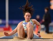 5 February 2017; Sarah Buggy of St. Abbans A.C., Co. Carlow competing in the womens triple jump during the Irish Life Health AAI Indoor Games at Sport Ireland National Indoor Arena in Abbotstown, Dublin. Photo by Eóin Noonan/Sportsfile