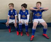 5 February 2017; Cavan ball boys Jake Brady, left, age 7, from Gowna, Co Cavan, with Carolan brothers and sons of the Cavan team doctor Ronan, centre, age 7, and Conor, age 10, from Clontarf, Co Dublin, prior to the Allianz Football League Division 1 Round 1 match between Cavan and Dublin at Kingspan Breffni Park in Cavan. Photo by Ray McManus/Sportsfile