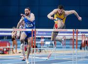5 February 2017; Ben Reynolds of North Down AC, Co Down, right, and Gerard O'Donnell of Carrick-On-Shannon AC, Co Leitrim competing in the senior men's 60m hurdles during the Irish Life Health AAI Indoor Games at Sport Ireland National Indoor Arena in Abbotstown, Dublin. Photo by Sam Barnes/Sportsfile