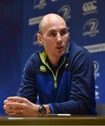 6 February 2017; Leinster backs coach Girvan Dempsey speaking during a press conference at Rosemount in UCD, Dublin. Cody Glenn / SPORTSFILE