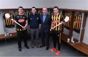 6 February 2017; Brian Phelan, CEO Glanbia Nutritionals, second right, Stuart Scott, Glanbia Consumer Foods Brand Manager, second left, with Kilkenny goalkeeper Eóin Murphy, left, and team captain Mark Bergin pictured during the launch of Glanbia 2017 Kilkenny GAA Sponsorship at Nowlan Park in Kilkenny. Photo by Matt Browne/Sportsfile