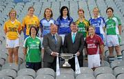 5 July 2011; 2011 is the 11th year of TG4's sponsorship of the Ladies Football All Ireland Championships and TG4 will broadcast 17 live championship games over the course of the summer. In addition the games will be available to viewers all over the world on www.tg4.tv. Donegal won the Mary Quinn Memorial Cup in 2010 and captains from the remaining teams pictured will be hoping to add their name to the Intermediate Championship trophy in 2011. At the launch are Pat Quill, President, Cumann Peil Gael na mBan, second from left, and Pól Ó Gallchóir, Ceannaái TG4, with back row from left, Catherine Mullan, Antrim, Marla Candon, Roscommon, Michelle Haniffy-Mulvey, Longford, Aisling Doonan, Cavan, Sinead Fowley, Leitrim, Mary Foley, Waterford, and Yvette Moynihan, Limerick, front row, Louise Quinn, London, left, and Elaine Finn, Westmeath. 2011 TG4 Ladies Football Championship Launch, Croke Park, Dublin. Picture credit: Brian Lawless / SPORTSFILE