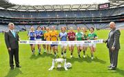 5 July 2011; 2011 is the 11th year of TG4's sponsorship of the Ladies Football All Ireland Championships and TG4 will broadcast 17 live championship games over the course of the summer. In addition the games will be available to viewers all over the world on www.tg4.tv. Donegal won the Mary Quinn Memorial Cup in 2010 and captains from the remaining teams pictured will be hoping to add their name to the Intermediate Championship trophy in 2011. At the launch are Pat Quill, President, Cumann Peil Gael na mBan, right, and Pól Ó Gallchóir, Ceannaái TG4, with Intermediate players from left, Mary Foley, Waterford, Aisling Doonan, Cavan, Louise Quinn, London, Catherine Mullan, Antrim, Marla Candon, Roscommon, Michelle Haniffy-Mulvey, Longford, Elaine Finn, Westmeath, Yvette Moyniahn, Limerick, Sinead Fowley, Leitrim, and Tricia Melanaphy, Fermanagh. 2011 TG4 Ladies Football Championship Launch, Croke Park, Dublin. Picture credit: Brian Lawless / SPORTSFILE