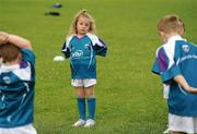 7 July 2011; Aideen Rafferty, age 6, awaits instruction during a GAA VHI Cúl Camp in Clonliffe College, Dublin. The camps, sponsored and subsidised by Croke Park and the GAA, catered for more than 150 local children from the Croke Park locality under the direction of camp co-ordinator Liam Ryan this week. Clonliffe College, Clonliffe Road, Dublin. Picture credit: Brendan Moran / SPORTSFILE