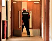 5 February 2017; Tyrone manager Mickey Harte entering the changing rooms before the Allianz Football League Division 1 Round 1 match between Tyrone and Roscommon at Healy Park in Omagh, Co. Tyrone. Photo by Oliver McVeigh/Sportsfile