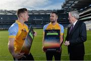 8 February 2017; Dublin footballer and All-Ireland winner Paul Flynn, mental health advocate Alan O'Mara, legendary GAA commentator Mícheál Ó Muircheartaigh, Pieta House Chief Clinical Officer Cindy O'Connor and Árd Stiúrthoir of the GAA Paraic Duffy gathered at Croke Park today to launch the new Pieta House suicide bereavement services brochure. The brochure is to publicise that Pieta House now offers suicide bereavement counselling and the free 24-hour suicide helpline 1800 247 247 in addition to counselling for those in suicidal crisis and people who self-harm. For more information, visit www.pieta.ie. Pictured are, from left, Paul Flynn, Alan O'Mara and Paraic Duffy. Croke Park in Dublin. Photo by Piaras Ó Mídheach/Sportsfile