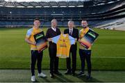 8 February 2017; Dublin footballer and All-Ireland winner Paul Flynn, mental health advocate Alan O'Mara, legendary GAA commentator Mícheál Ó Muircheartaigh, Pieta House Chief Clinical Officer Cindy O'Connor and Árd Stiúrthoir of the GAA Paraic Duffy gathered at Croke Park today to launch the new Pieta House suicide bereavement services brochure. The brochure is to publicise that Pieta House now offers suicide bereavement counselling and the free 24-hour suicide helpline 1800 247 247 in addition to counselling for those in suicidal crisis and people who self-harm. For more information, visit www.pieta.ie. Pictured are, from left, Paul Flynn, Mícheál Ó Muircheartaigh, Paraic Duffy and Alan O'Mara. Croke Park in Dublin. Photo by Piaras Ó Mídheach/Sportsfile