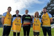 8 February 2017; Dublin footballer and All-Ireland winner Paul Flynn, mental health advocate Alan O'Mara, legendary GAA commentator Mícheál Ó Muircheartaigh, Pieta House Chief Clinical Officer Cindy O'Connor and Árd Stiúrthoir of the GAA Paraic Duffy gathered at Croke Park today to launch the new Pieta House suicide bereavement services brochure. The brochure is to publicise that Pieta House now offers suicide bereavement counselling and the free 24-hour suicide helpline 1800 247 247 in addition to counselling for those in suicidal crisis and people who self-harm. For more information, visit www.pieta.ie. Pictured are, from left, Paul Flynn, Paraic Duffy, Mícheál Ó Muircheartaigh, Cindy O'Connor and Alan O'Mara. Croke Park in Dublin. Photo by Piaras Ó Mídheach/Sportsfile