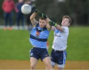 8 February 2017; Eóin Murchin of UCD in action against Mark Bradley of Ulster University during the Independent.ie HE GAA Sigerson Cup Quarter-Final match between Ulster University and UCD at Jordanstown in Belfast. Photo by Oliver McVeigh/Sportsfile