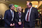 9 February 2017; Willie O'Brien, Acting President, Olympic Council of Ireland, left, Sarah Keane, CEO, Swim Ireland and Executive Board Member, Olympic Council of Ireland, and Bernard O'Byrne, CEO, Basketball Ireland, prior to the Olympic Council of Ireland EGM at the Conrad Hotel in Dublin. Photo by Brendan Moran/Sportsfile