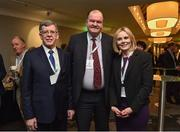 9 February 2017; Willie O'Brien, Acting President, Olympic Council of Ireland, left, Bernard O'Byrne, CEO, Basketball Ireland, centre, and Sarah Keane, CEO, Swim Ireland and Executive Board Member, Olympic Council of Ireland, prior to the Olympic Council of Ireland EGM at the Conrad Hotel in Dublin. Photo by Brendan Moran/Sportsfile