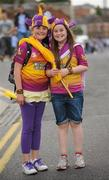 10 July 2011; Wexford supporter Megan Hillis and Genevieve Kehogh, from Glynn, Co. Wexford, on their way to the Leinster GAA Football Championship Finals. Croke Park, Dublin. Picture credit: Oliver McVeigh / SPORTSFILE