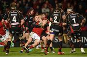 10 February 2017; Rory Scannell of Munster is tackled by Tyler Morgan of Newport Gwent Dragons during the Guinness PRO12 Round 14 match between Munster and Newport Gwent Dragons at Irish Independent Park in Cork. Photo by Diarmuid Greene/Sportsfile