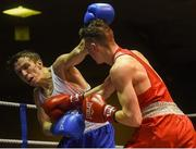 10 February 2017; Brendan Irvine of St Pauls, Antrim, right, exchanges punches with TJ Waite of Ormeau Road BC, during their 52kg bout during the 2016 IABA Elite Boxing Championships at the National Stadium in Dublin. Photo by David Maher/Sportsfile