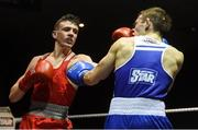 10 February 2017; Brendan Irvine, left, of St Pauls, Antrim, exchanges punches with TJ Waite, of Ormeau Road BC, during their 52kg bout during the 2016 IABA Elite Boxing Championships at the National Stadium in Dublin. Photo by David Maher/Sportsfile